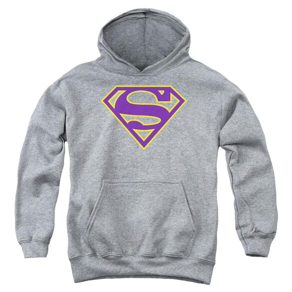 Superman Purple & Gold Shield Youth Pull Over Hoodie Athletic