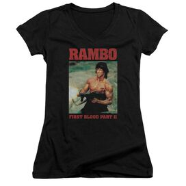 Rambo:First Blood Ii Dropping Shells Junior V Neck T-Shirt
