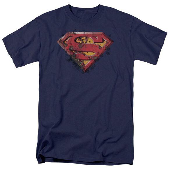 Superman Rusted Shield Short Sleeve Adult T-Shirt