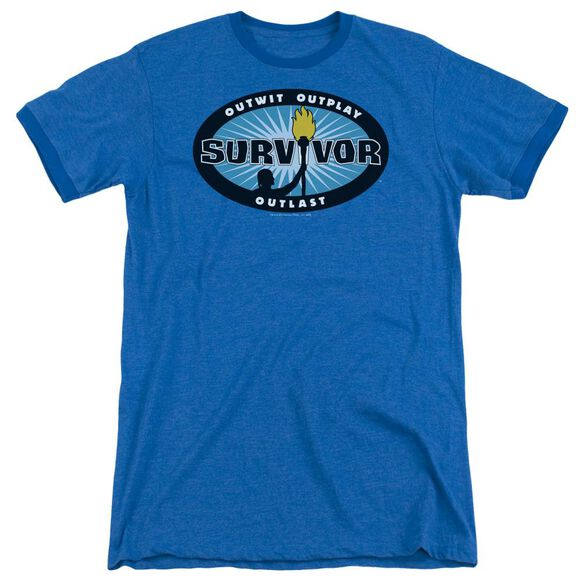 Survivor Blue Burst Adult Heather Ringer Royal Blue