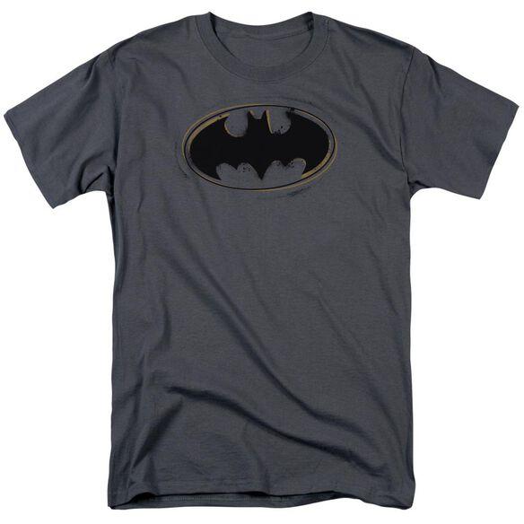 Batman Spray Paint Logo Short Sleeve Adult Charcoal T-Shirt