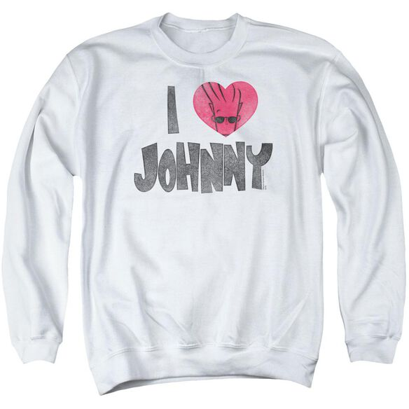 Johnny Bravo I Heart Johnny Adult Crewneck Sweatshirt