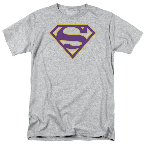 Superman Purple & Gold Shield Short Sleeve Adult Athletic T-Shirt