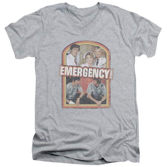 Emergency Retro Cast Short Sleeve Adult V Neck Athletic T-Shirt