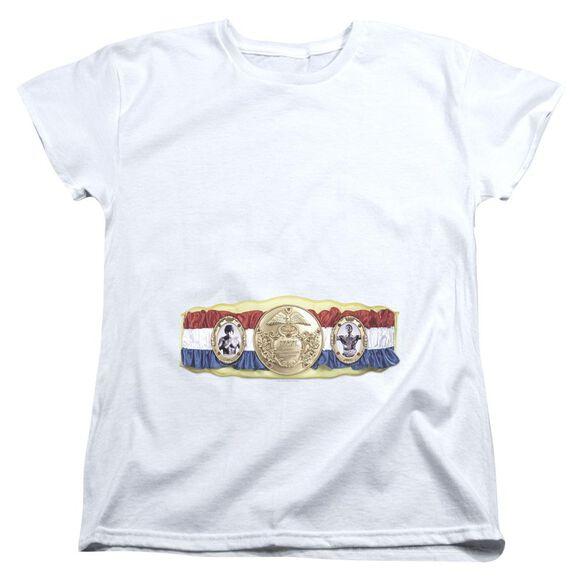 Rocky Championship Belt(Bottom Front) Short Sleeve Womens Tee T-Shirt