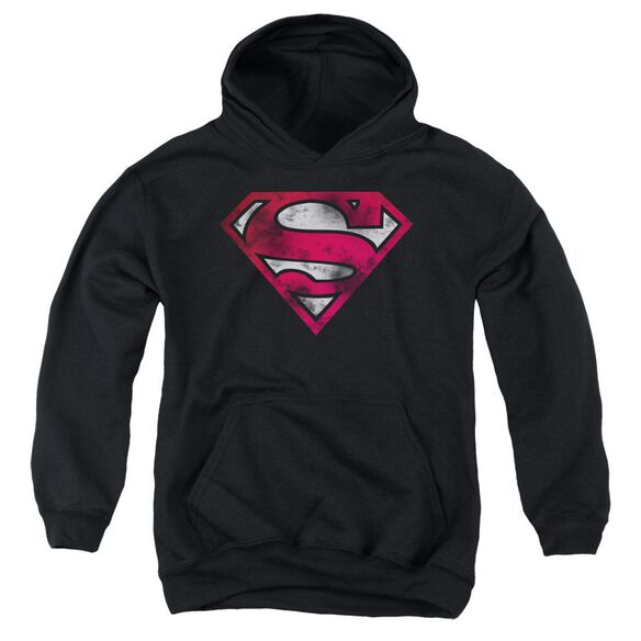 Superman War Torn Shield Youth Pull Over Hoodie