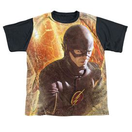 The Flash Flash Town Short Sleeve Youth Front Black Back T-Shirt