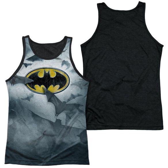 Batman Bats Logo Adult Poly Tank Top Black Back