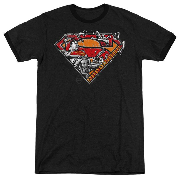 Superman Breaking Chain Logo - Adult Heather Ringer - Black