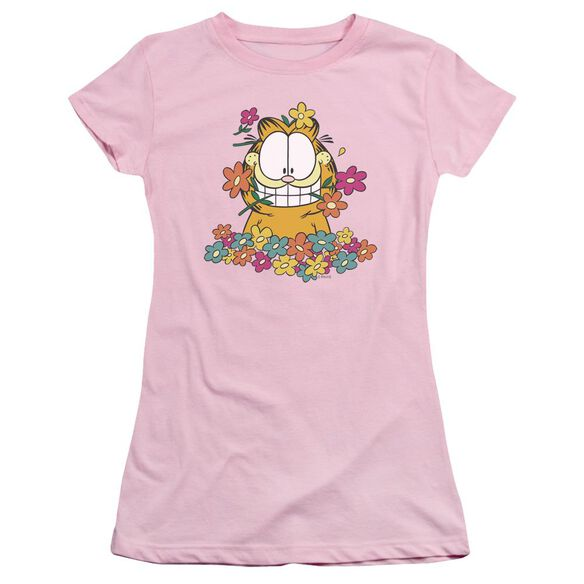 GARFIELD IN THE GARDEN - S/S JUNIOR SHEER - PINK T-Shirt
