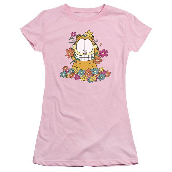 GARFIELD IN THE GARDEN - S/S JUNIOR SHEER - PINK T-Shirt