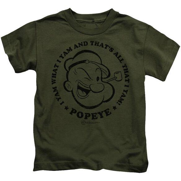 Popeye I Yam Short Sleeve Juvenile Military Green T-Shirt