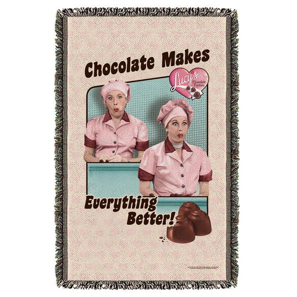 I Love Lucy Friends And Chocolate Woven Throw