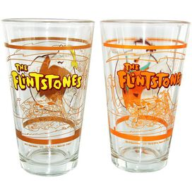 Flintstones Fred Barney Pint Glass Set