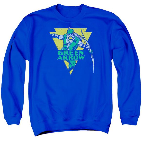 Dc Distressed Arrow Adult Crewneck Sweatshirt Royal