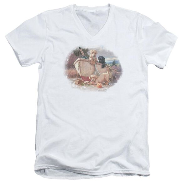 Wildlife Lunch Break Lab Pups Short Sleeve Adult V Neck T-Shirt