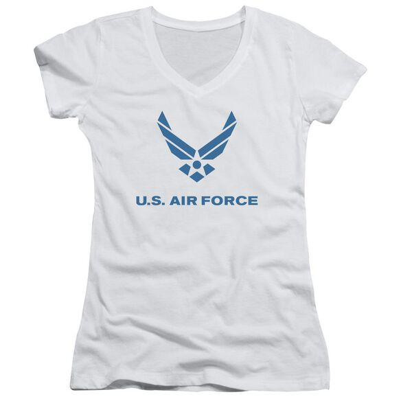 Air Force Distressed Logo Junior V Neck T-Shirt