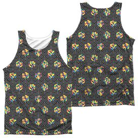 Rubiks Cube Black And (Front Back Print) Adult Poly Tank Top