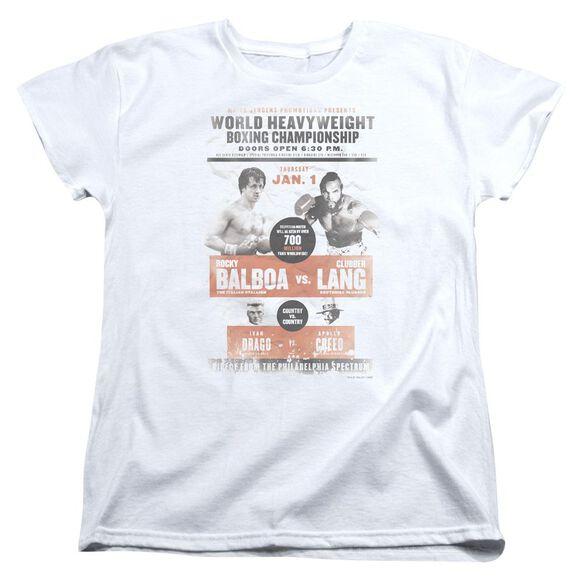 Rocky Iii Vs Clubber Poster Short Sleeve Womens Tee T-Shirt