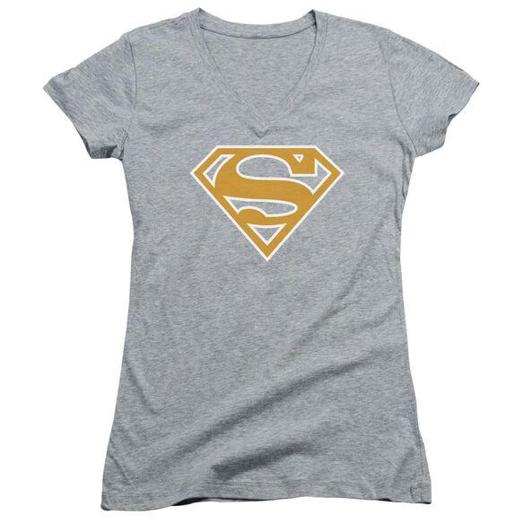 Superman Lt Orange & White Shield Junior V Neck Athletic T-Shirt