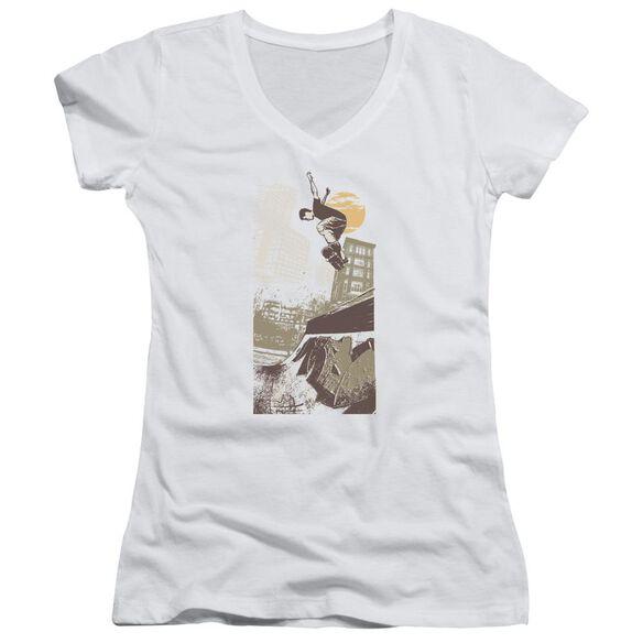 Skater On Half Pipe Junior V Neck T-Shirt
