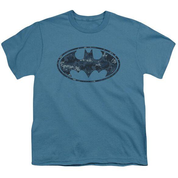 Batman Navy Camo Shield Short Sleeve Youth T-Shirt
