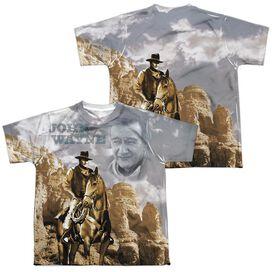 John Wayne Ride Em Cowboy (Front Back Print) Short Sleeve Youth Poly Crew T-Shirt