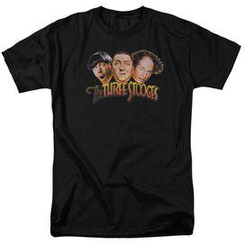 Three Stooges Three Head Logo Short Sleeve Adult Black T-Shirt
