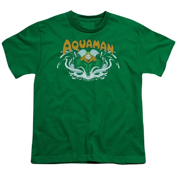 Dc Aquaman Splash Short Sleeve Youth Kelly T-Shirt