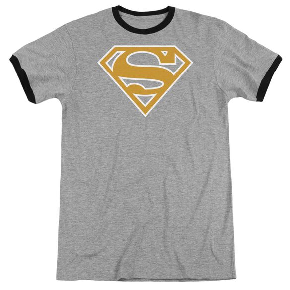 Superman Lt Orange & White Shield Adult Ringer Heather Black