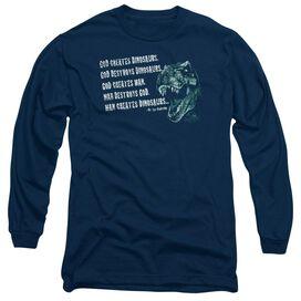 JURASSIC PARK GOD CREATES DINOSAURS - L/S ADULT 18/1 - NAVY T-Shirt