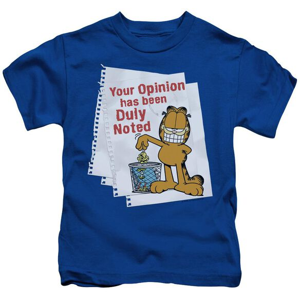Garfield Duly Noted Short Sleeve Juvenile Royal Blue Md T-Shirt