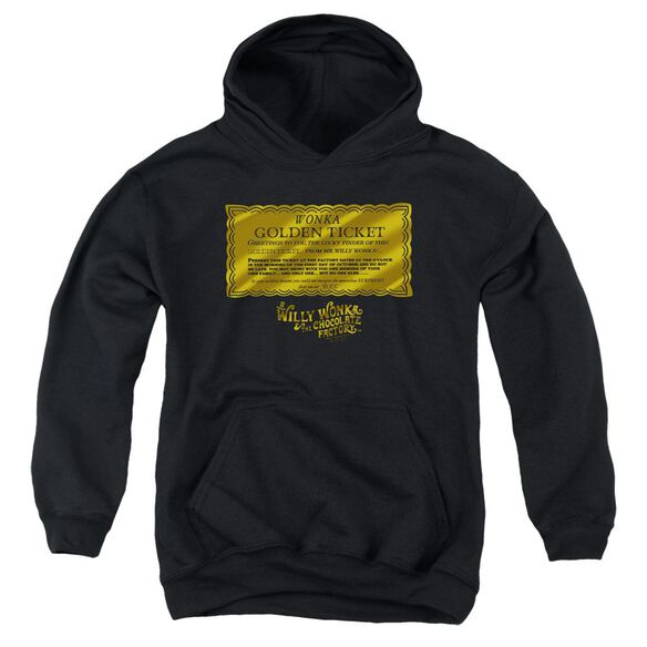 Willy Wonka And The Chocolate Factory Golden Ticket Youth Pull Over Hoodie