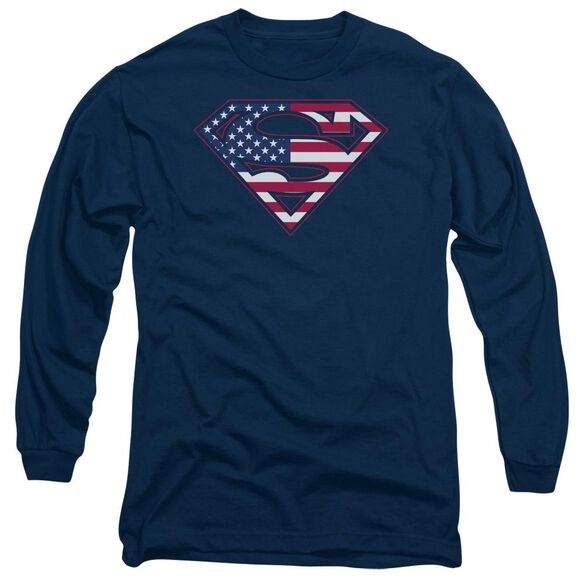 Superman U S Shield Long Sleeve Adult T-Shirt