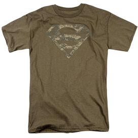 Superman Army Camo Shield Short Sleeve Adult Safari Green T-Shirt
