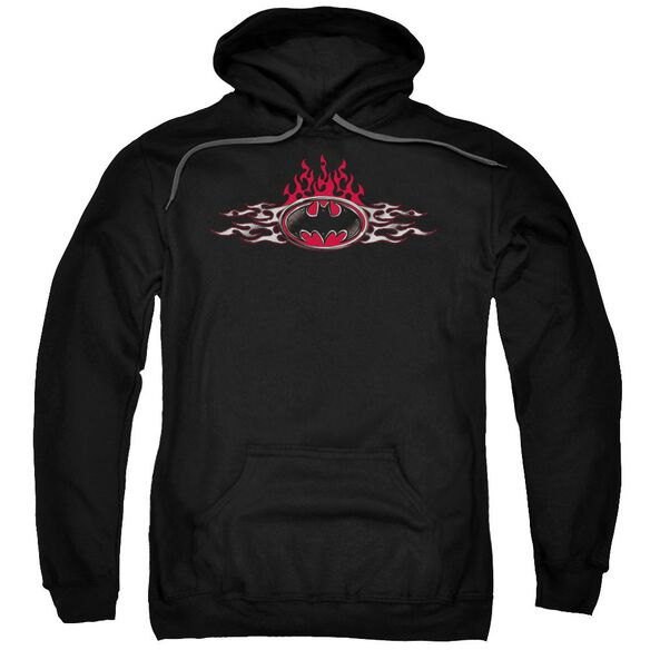 Batman Steel Flames Logo Adult Pull Over Hoodie Black