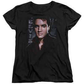 Elvis Presley Tough Short Sleeve Womens Tee Black T-Shirt