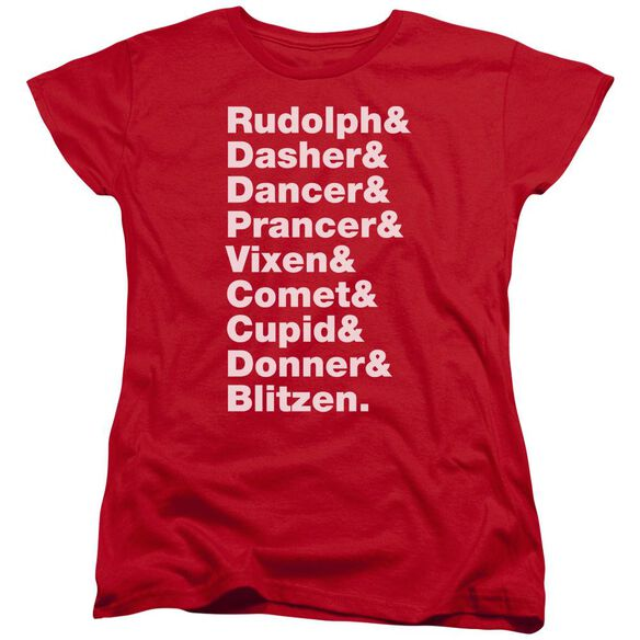 Reindeer Short Sleeve Womens Tee T-Shirt
