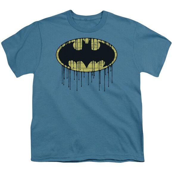 Batman Dripping Brick Wall Shield Short Sleeve Youth T-Shirt
