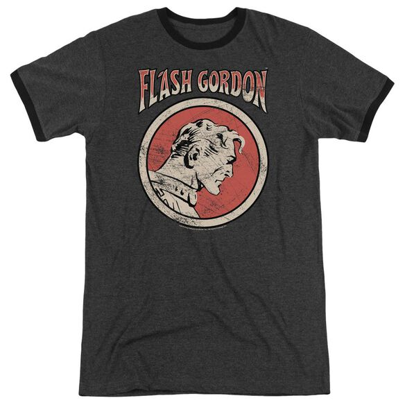 Flash Gordon Flash Circle Adult Heather Ringer Charcoal
