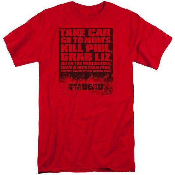 Shaun Of The Dead List Short Sleeve Adult Tall T-Shirt