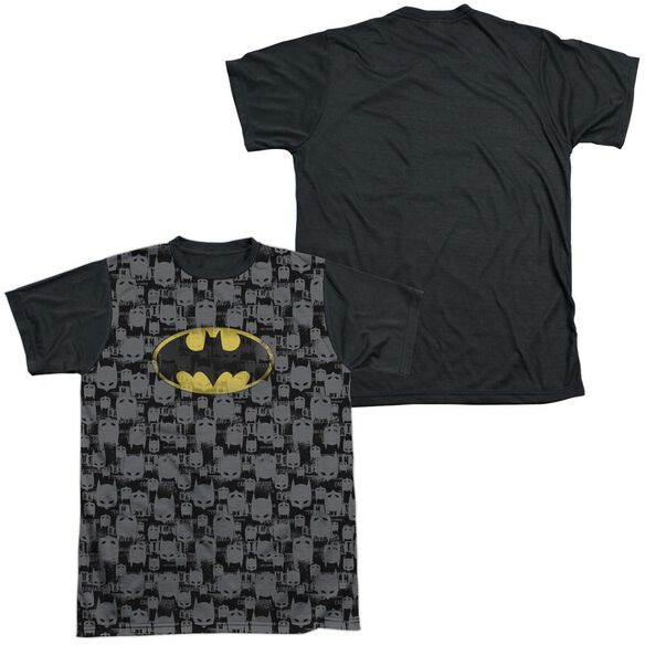 Batman Caped Crusader Repeat Short Sleeve Adult Front Black Back T-Shirt