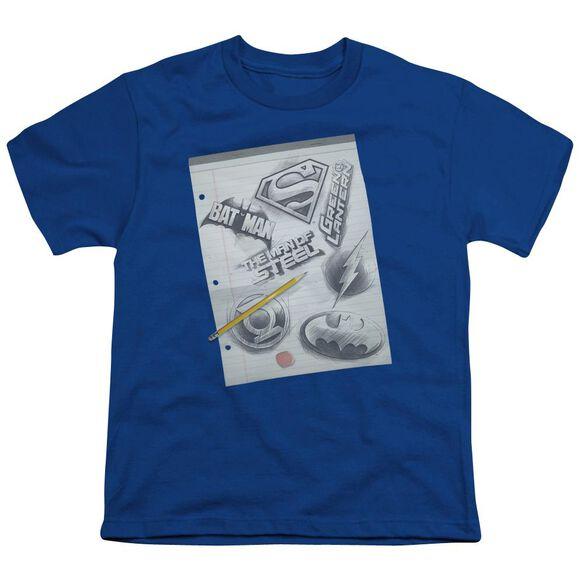 Dc Logo Note Paper Short Sleeve Youth Royal T-Shirt