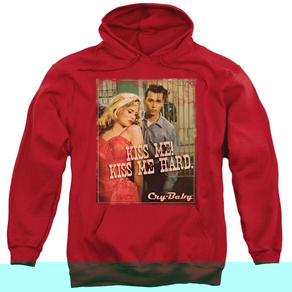 CRY BABY KISS ME - ADULT PULL-OVER HOODIE - Red