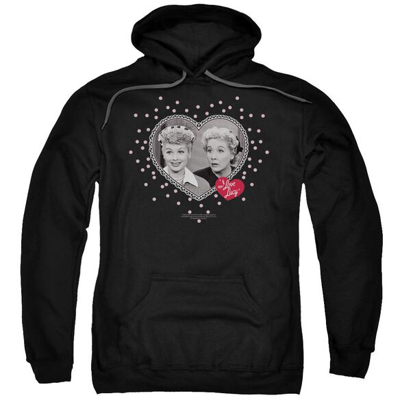 I Love Lucy Hearts And Dots Adult Pull Over Hoodie Black