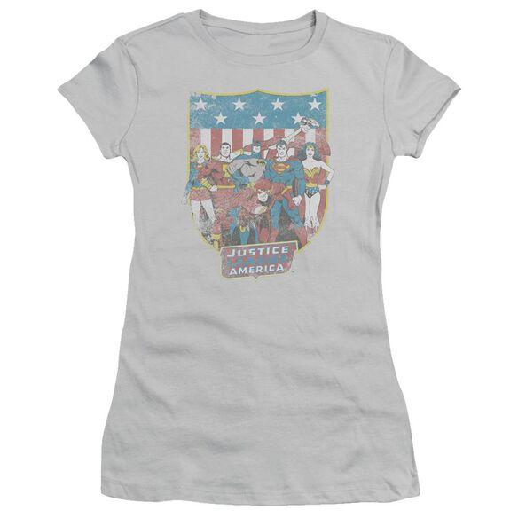 Dc Jla American Shield Short Sleeve Junior Sheer T-Shirt