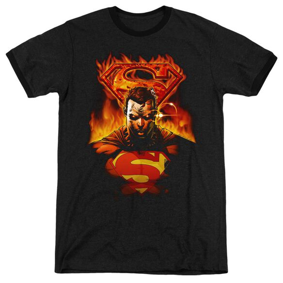Superman Man On Fire - Adult Heather Ringer - Black