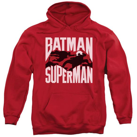 Batman Vs Superman Silhouette Fight Adult Pull Over Hoodie