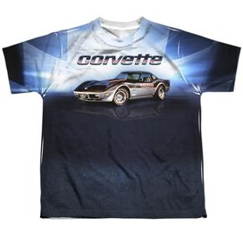 Chevrolet Blue Vette Check Flag Short Sleeve Youth Poly Crew T-Shirt