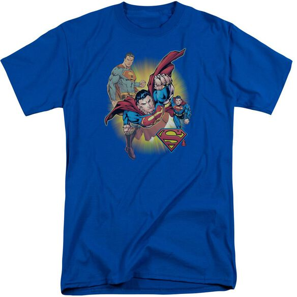 Jla Superman Collage Short Sleeve Adult Tall Royal T-Shirt